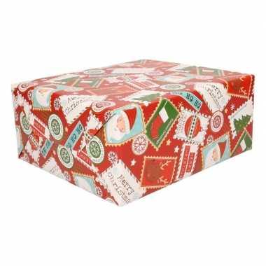 Kerst inpakpapier rood met print trend