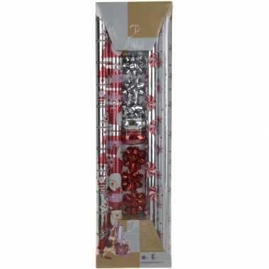 Kerst inpakpapier set rood/zilver 200 x 70 cm
