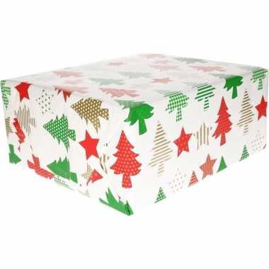 Kerst inpakpapier wit met bomen/sterren print 200 x 70 cm op rol