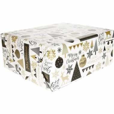 Kerst inpakpapier wit met print zwart/goud 200 x 70 cm op rol
