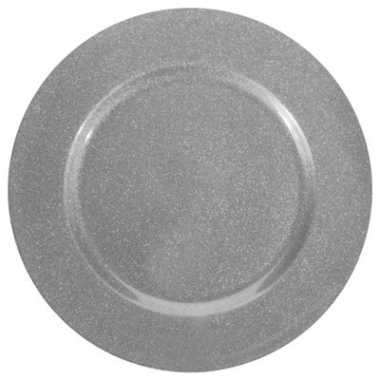 Kerst kaarsen/diner onderbord/plateau zilver glitter 33 cm rond
