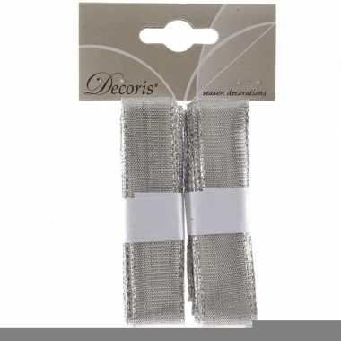 Kerst linten zilver 2x 200 cm