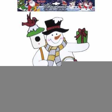 Kerst raamsticker sneeuwpop