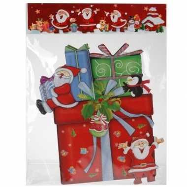 Kerst raamstickers/raamdecoratie 3d cadeautje 25 x 34 cm