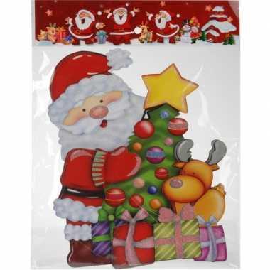 Kerst raamstickers/raamdecoratie 3d kerstman 25 x 34 cm
