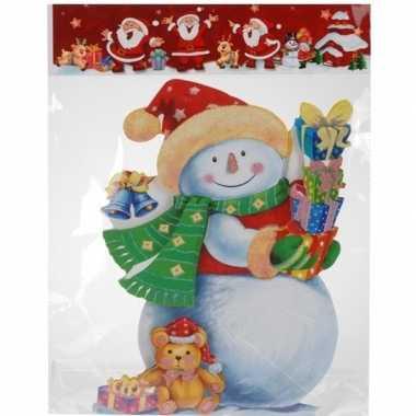 Kerst raamstickers/raamdecoratie 3d sneeuwpop 25 x 34 cm