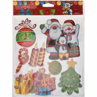 Kerst raamstickers/raamdecoratie 3d stickers type 1 29 x 36 cm