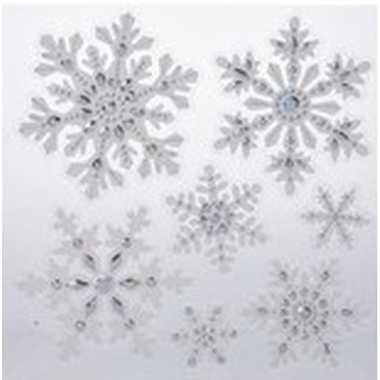 Kerst raamstickers/raamdecoratie sneeuwvlok/ijsster 31 x 39 cm
