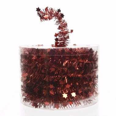 Kerst rode sterren folieslinger elegant christmas 700 cm