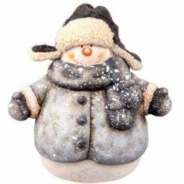 Kerst sneeuwpop beeldje 19 cm met jas