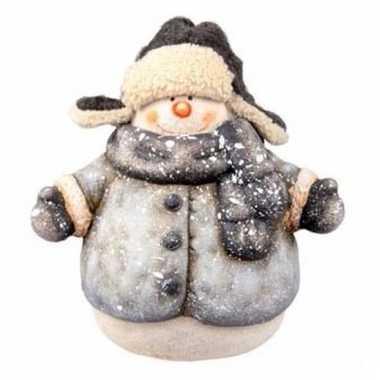 Kerst sneeuwpop beeldje 21 cm met sjaal