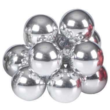 Kerst steker zilveren mini kerstballen 10 stuks trend