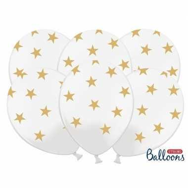Kerst sterren ballonnen wit met goud