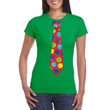 Kerst t-shirt stropdas met kerstballen print groen voor dames