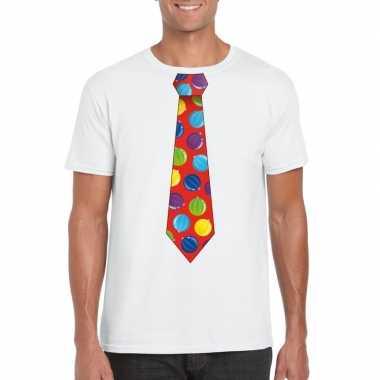 Kerst t-shirt stropdas met kerstballen print wit voor heren