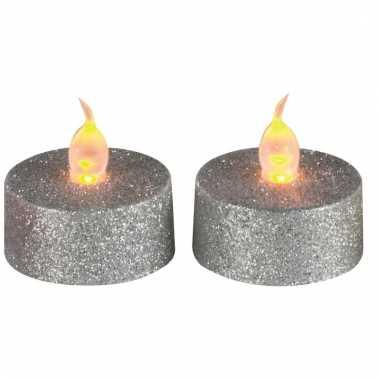 Kerst waxine led lichtjes zilver 2 stuks