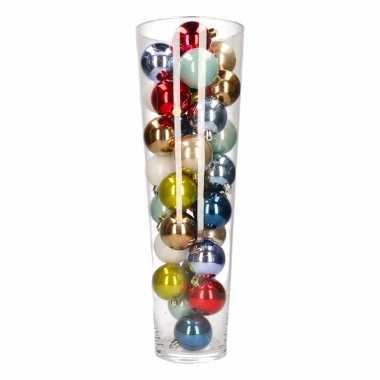 Kerst woondecoratie vaas met gekleurde kerstballen for Woondecoratie vensterbank