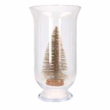 Kerst woondecoratie vaas met glitter boompje brons