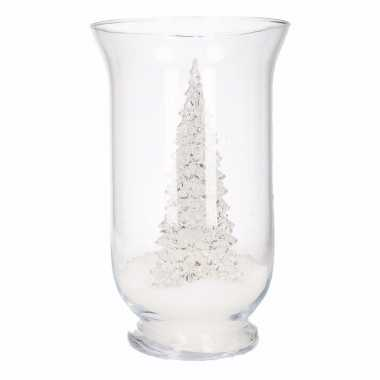 Kerst woondecoratie vaas met led boompje