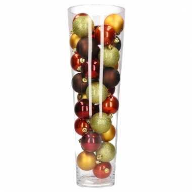 Kerst woondecoratie vaas met rood bruine kerstballen for Woondecoratie vensterbank