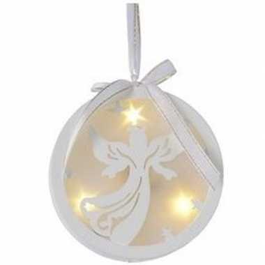 Kerstbal/engel kerstversiering hangdecoratie met led licht