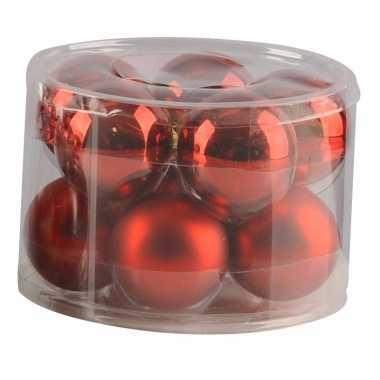 Kerstbal in doos 10 x rood 6 cm