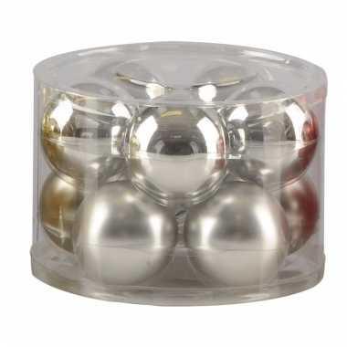 Kerstbal in doos 10 x zilver 6 cm
