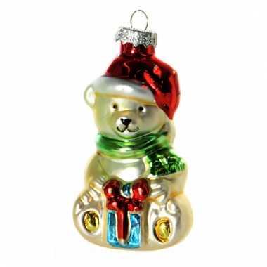 Kerstbal kerstbeer 8 cm