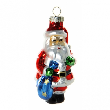 Kerstbal kerstman met zak 8 cm
