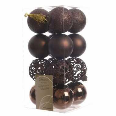 Kerstbal pakket glanzend bruin 6 cm