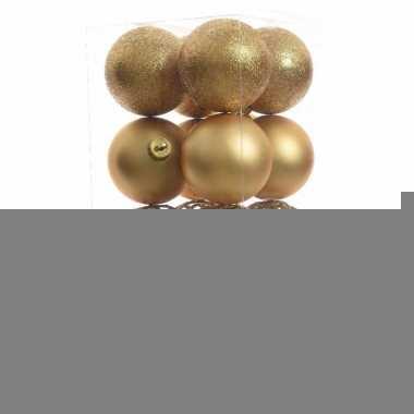 Kerstbal pakket glanzend goud 6 cm