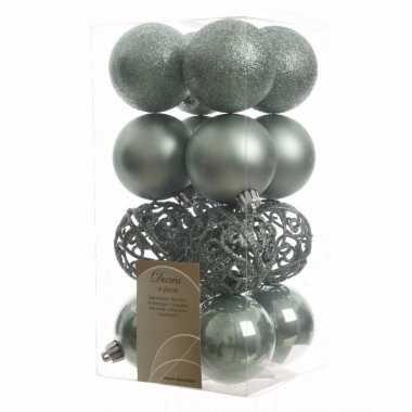 Kerstbal pakket glanzend mint 6 cm