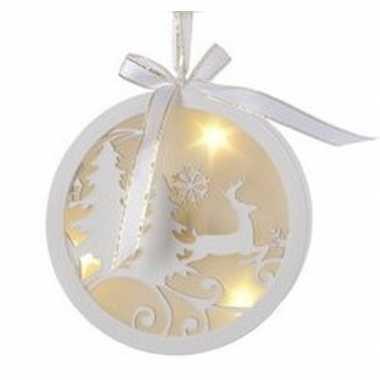 Kerstbal/rendier kerstversiering hangdecoratie met led licht