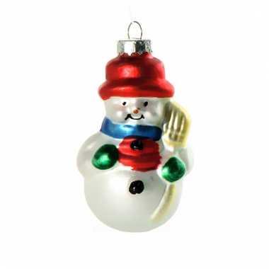 Kerstbal sneeuwpop 8 cm