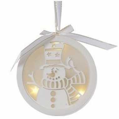 Kerstbal/sneeuwpop kerstversiering hangdecoratie met led licht