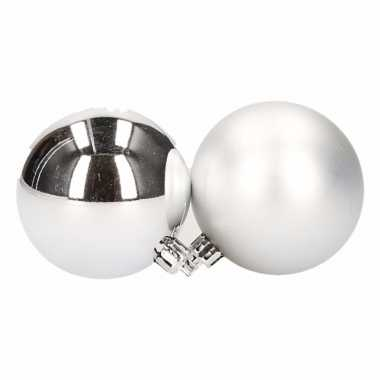 Kerstballen set zilver 6 cm 12 stuks