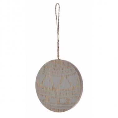 Kerstboom decoratie bal hanger hout/blauw 8 cm