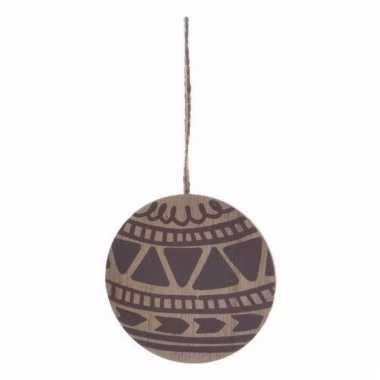 Kerstboom decoratie bal hout/bruin 8 cm