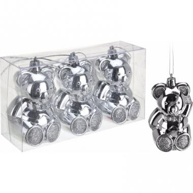 Kerstboom decoratie beer kerstballen zilver 5 cm