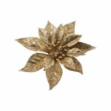 Kerstboom decoratie bloem goud 18 cm