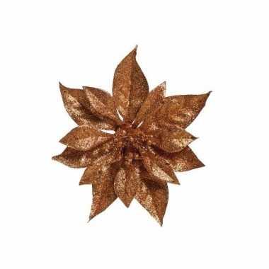 Kerstboom decoratie bloem koper 18 cm