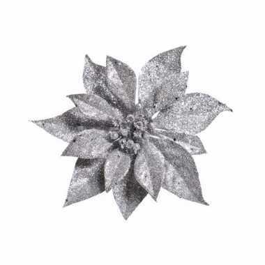 Kerstboom decoratie bloem zilver 18 cm