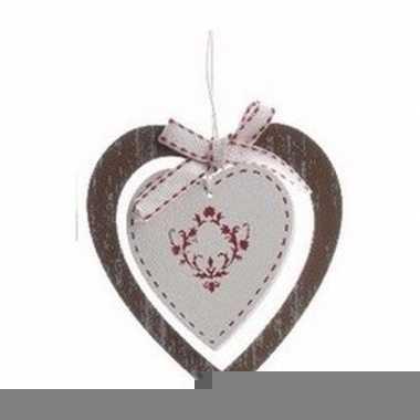 Kerstboom decoratie bruin hart 10 cm