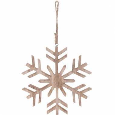 Kerstboom decoratie bruin/houten sneeuwvlok hanger 20 cm