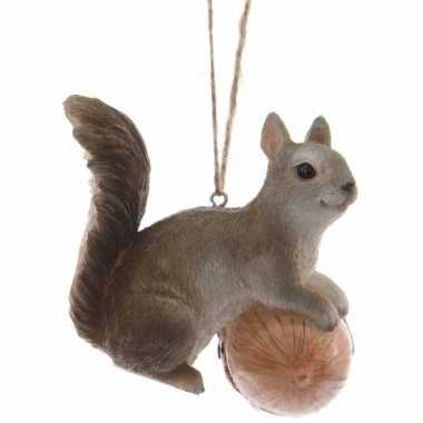 Kerstboom decoratie grijze eekhoorn 7 cm