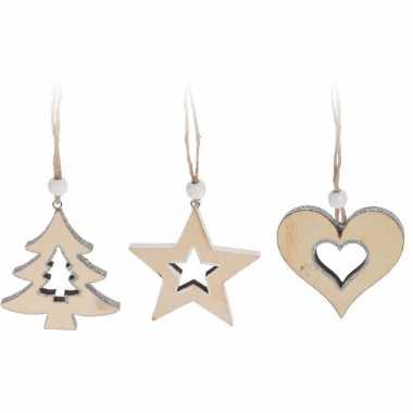 Kerstboom decoratie houten hangers wit 7 cm 6 stuks