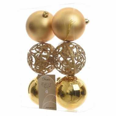 Kerstboom decoratie kerstballen mix 8 cm goud 12 stuks