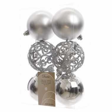 Kerstboom decoratie kerstballen mix 8 cm zilver 12 stuks