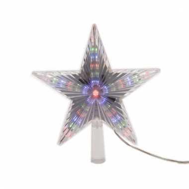Kerstboom decoratie led ster piek gekleurd 22 cm