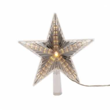 Kerstboom decoratie led ster piek warm wit 22 cm